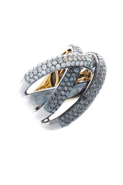 Loren Jewels - Gold & Silver Black & Champagne Diamond Twist Ring
