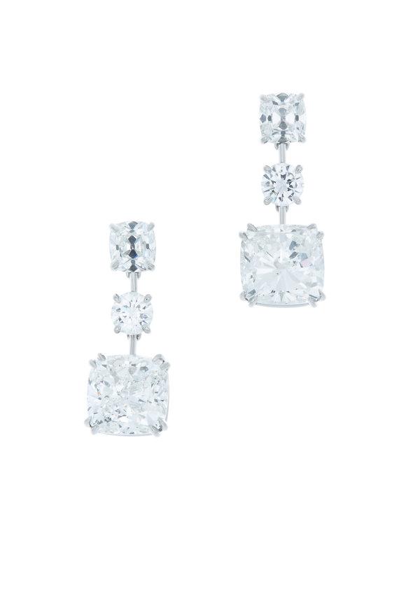 Louis Newman Platinum Three Drop Diamond Dangle Earrings