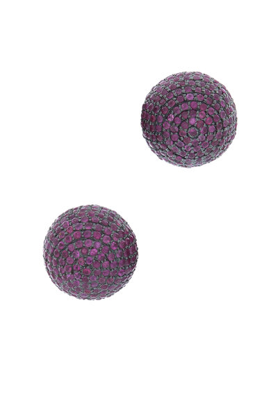 Loren Jewels - Gold Pavé Ruby Front Back Stud Earrings