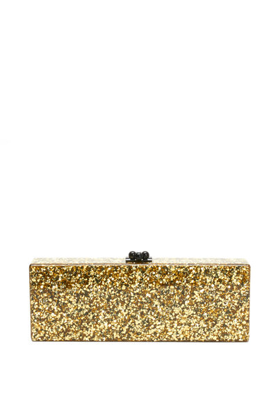 Edie Parker - Gold Glitter Acrylic Rectangle Handbag