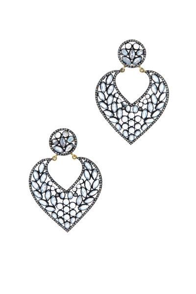 Loren Jewels - Gold & Silver Moonstone Diamond Drop Earrings