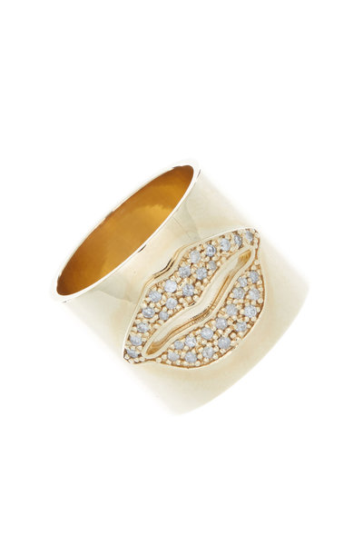 Tulah Jem - Gold Diamond Lips Cylinder Ring