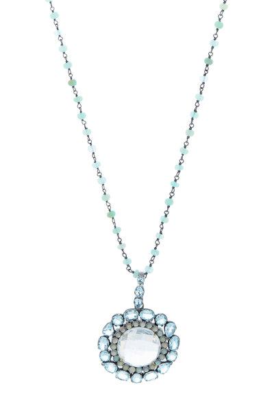 Loriann - Gold & Silver Aqua Opal Rock Quartz Necklace