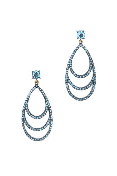 Loriann - Gold Three Tier Blue Topaz Earrings