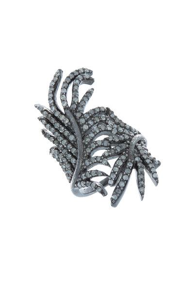 Loriann - Black & White Gold Feather Diamond Ring