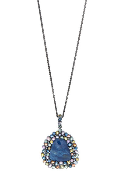 Loriann - Gold Blue Sapphire Diamond Necklace