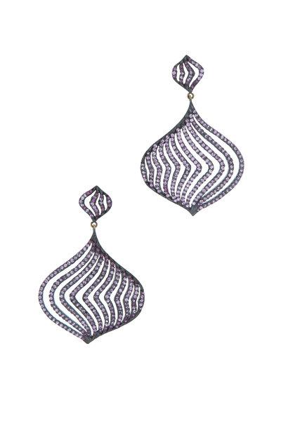 Loriann - Gold & Silver Magenta Sapphire Diamond Earrings