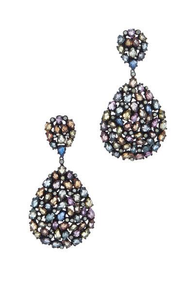Loriann - Monet Sterling Silver Multi Sapphire Earrings