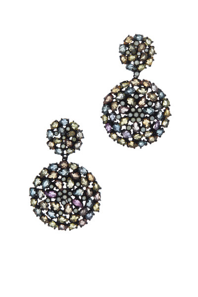 Loriann - Rhodium Silver Multi Sapphire Monet Earrings