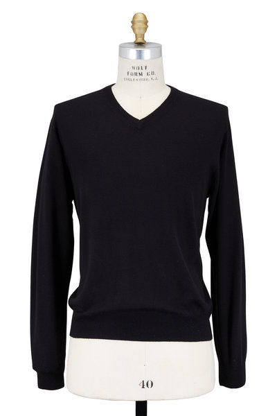 Peter Millar - Solid Black Merino Wool Sweater