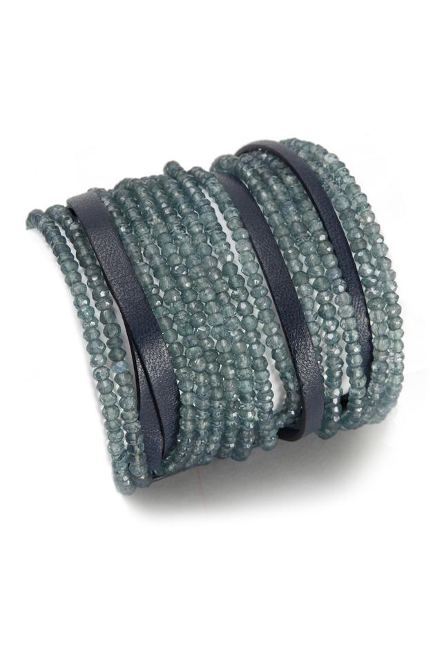 Blue Quartz Leather Cuff