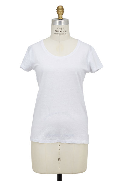 Majestic - White Stretch Linen Short Sleeve T-Shirt