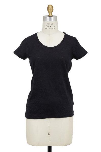 Majestic - Black Stretch Linen Short Sleeve T-Shirt