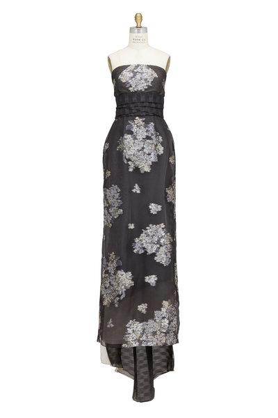 Pamella Roland - Black Silk Organza Strapless Floral Gown