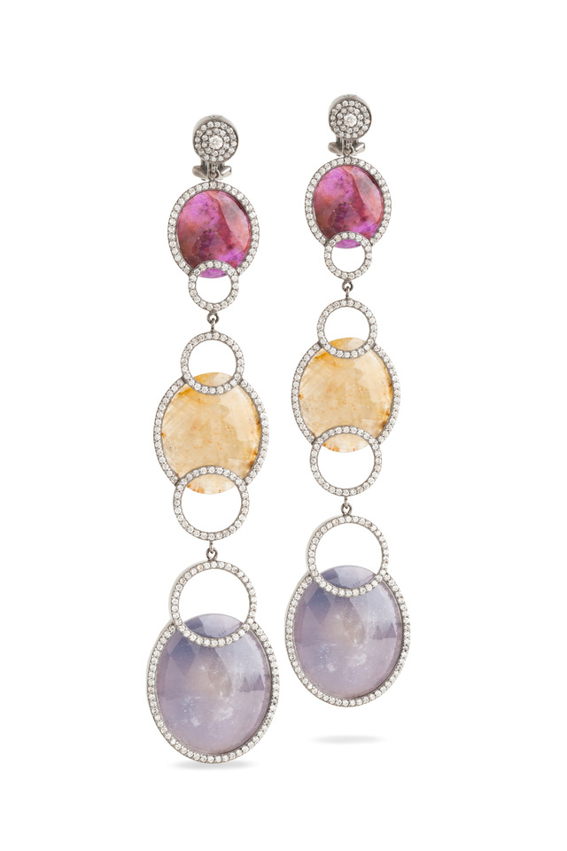 3 Drop Round Sapphire Dangle Earrings