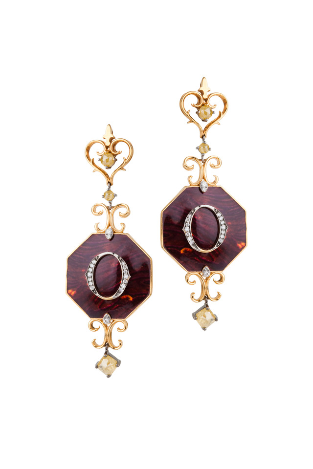 Gold Enamel & Diamond Ikon Earrings