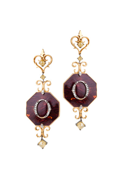 Bochic - Gold Enamel & Diamond Ikon Earrings