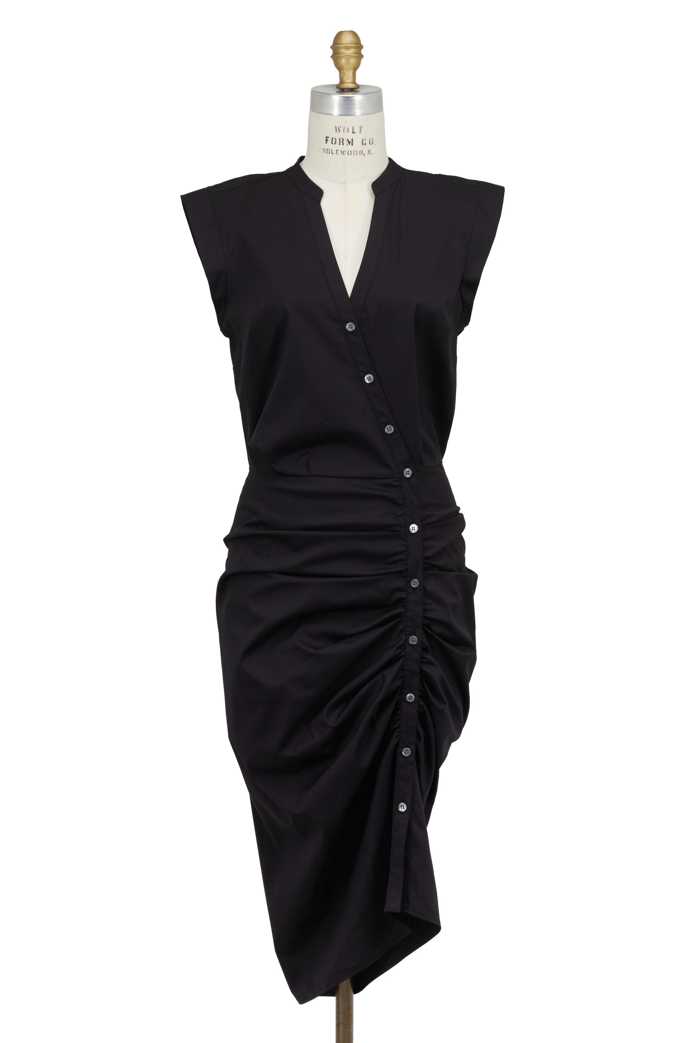 e69108af726 Veronica Beard - Black Ruched Asymmetric Button Shirtdress ...