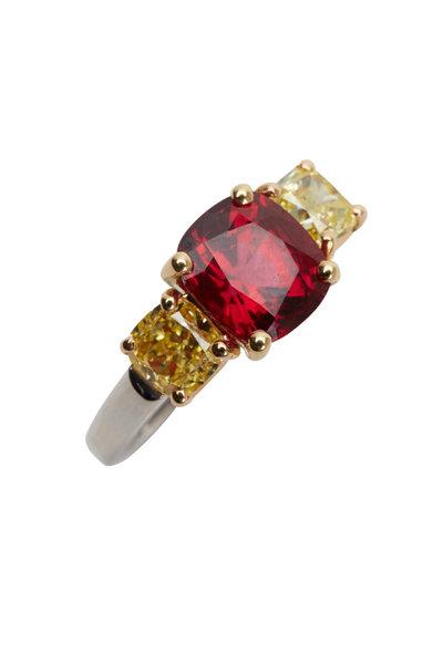 Oscar Heyman - Platinum Red Spinel Fancy Diamond Cocktail Ring