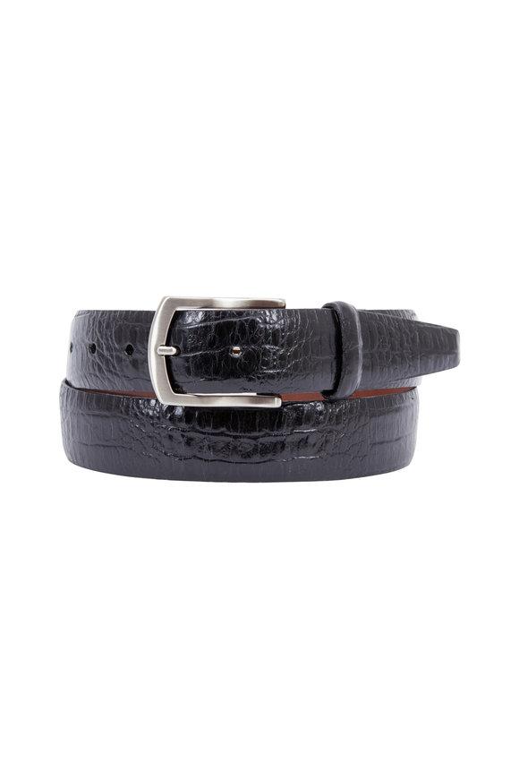 Torino Black Alligator Embossed Leather Belt