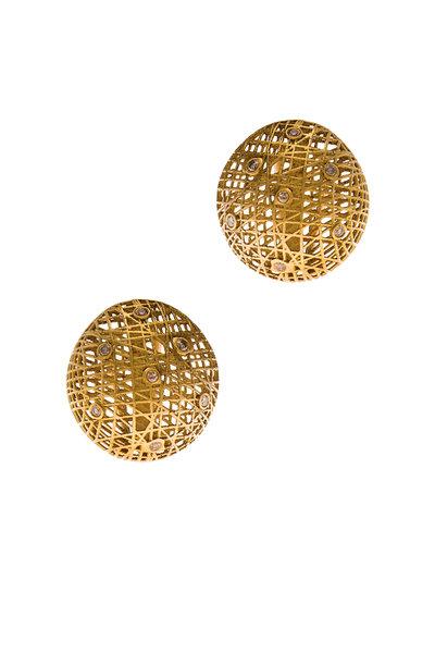 Yossi Harari -  18K Yellow Gold Lace Diamond Roxanne Earrings