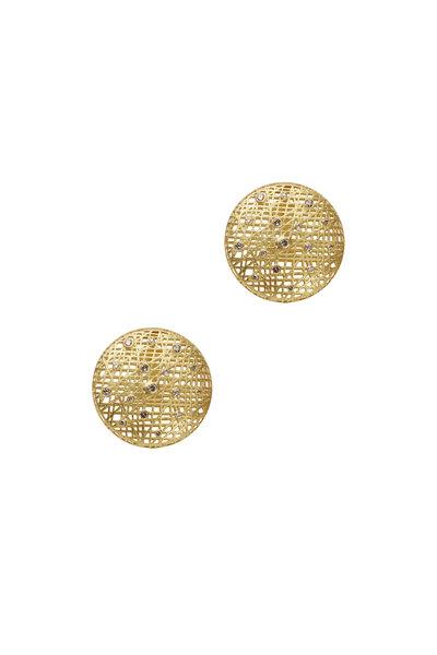 Yossi Harari - Yellow Gold Lace Champagne Diamond Earrings