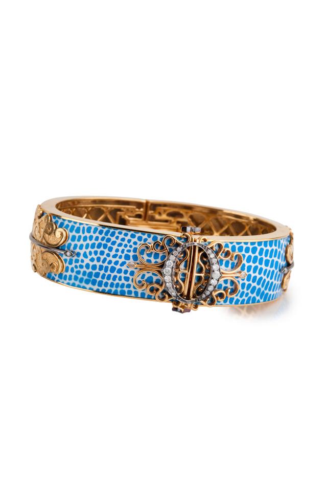 White Gold Enamel Diamond Bangle