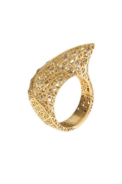 Yossi Harari - Yellow Gold Lace Diamond Ring