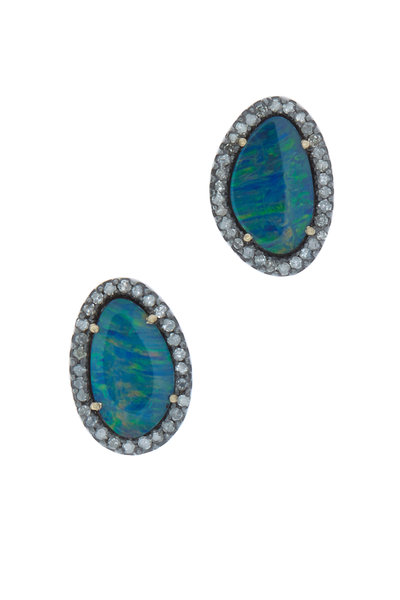 Loriann - Gold & Rhodium Australian Opal Earrings