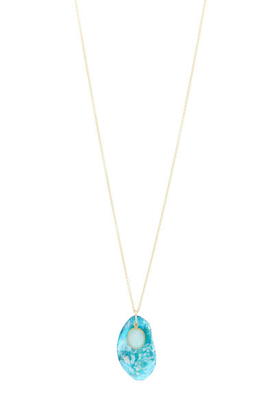 Loriann - BLUE MULTICOLOR ROMAN GLASS NECKLACE