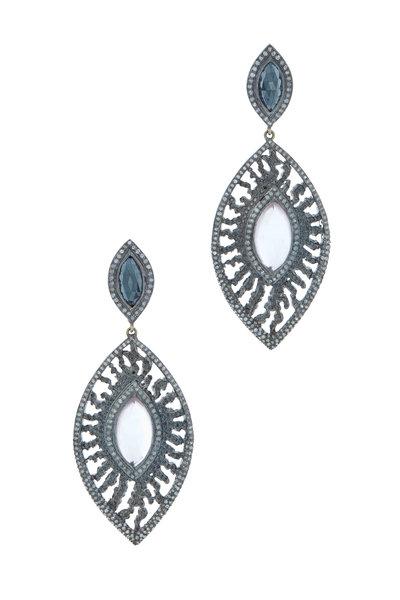Loriann - Sterling Silver Rose Quartz Black Spinel Earrings