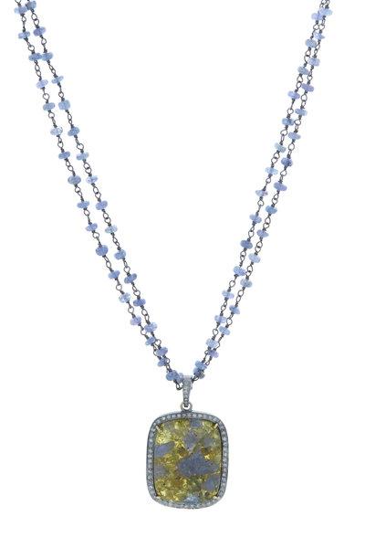 Loriann - 14K Gold Vasonite, Iolite & Diamond Sage Necklace