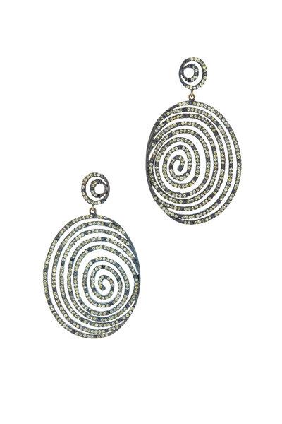 Loriann - Sunny Yellow Sapphire Black Diamond Earrings