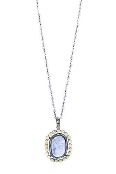 Loriann - Tanzanite Large Organic Shape Pendant Necklace