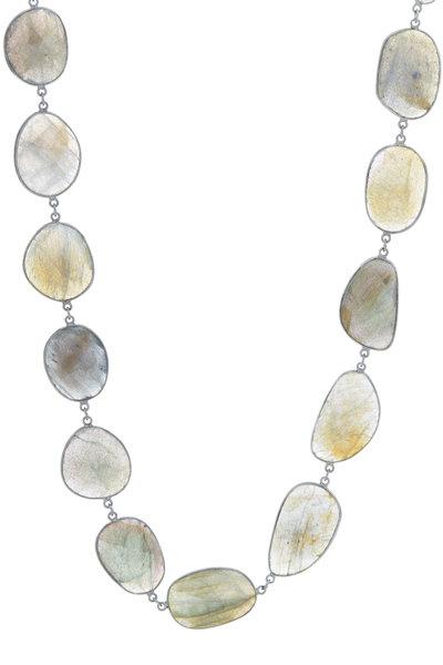 Loriann - Silver Labradorite & Aqua Accessory Chain Necklace