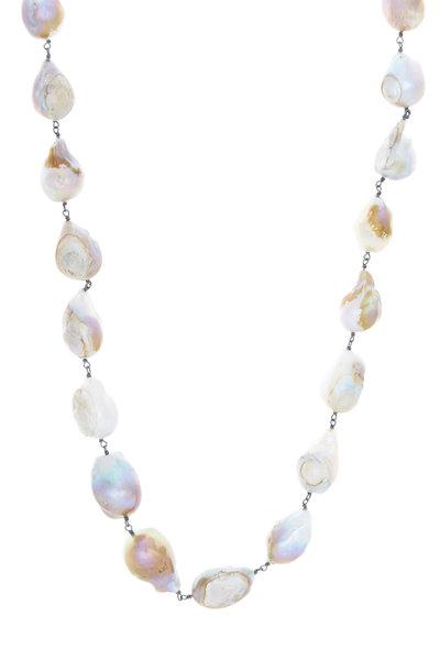 Loriann - Silver Baroque Pearl Opal Accessory Chain Necklace