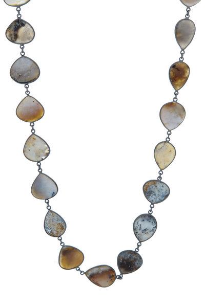 Loriann - Rhodium Silver African Opal Accessory Chain
