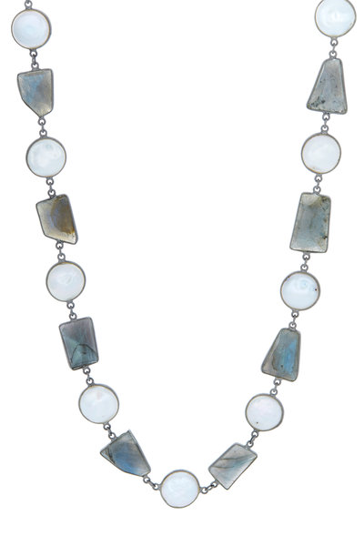 Loriann - Pearl & Grey Sterling Silver Chain Necklace