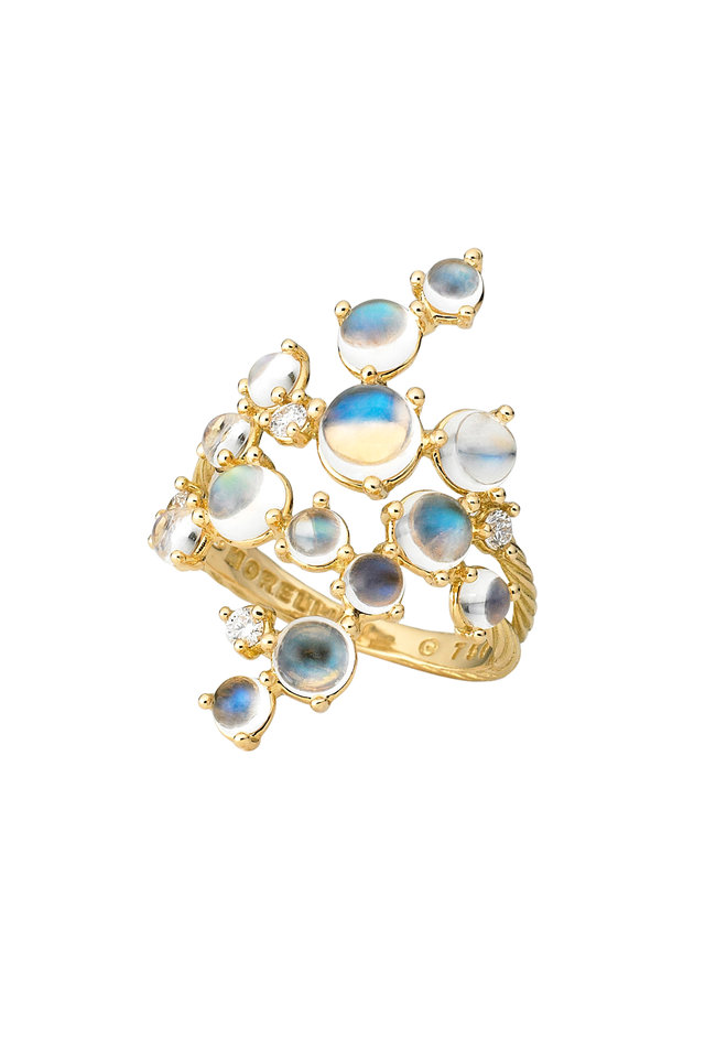 18K Yellow Gold Blue Moonstone & Diamond Ring