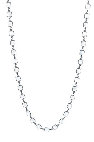 Loriann - Silver Square Moonstone Accessory Chain Necklace
