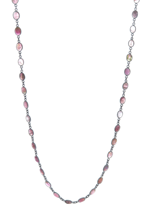 Loriann Silver Oval Tourmaline Accessory Chain Necklace