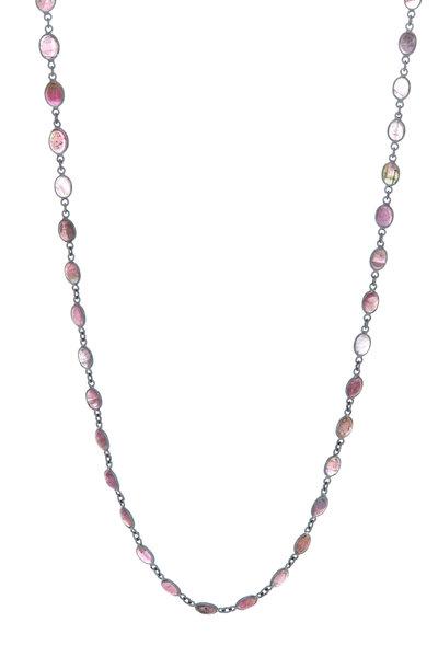 Loriann - Silver Oval Tourmaline Accessory Chain Necklace
