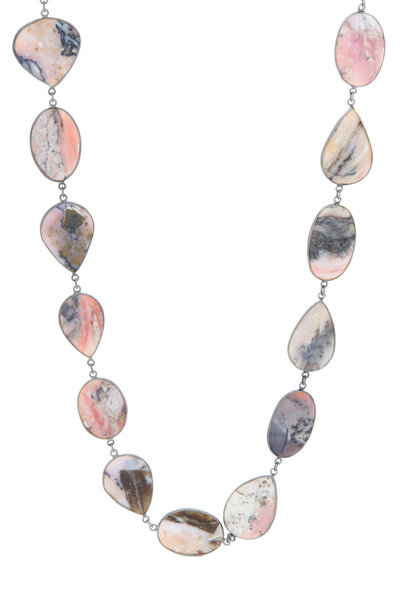 Loriann - Pink & Grey Sterling Silver Chain Necklace