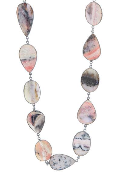 Loriann - Rhodium Silver Pink Opal Accessory Chain