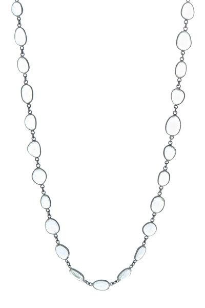 Loriann - Rhodium Silver Green Amethyst Accessory Chain