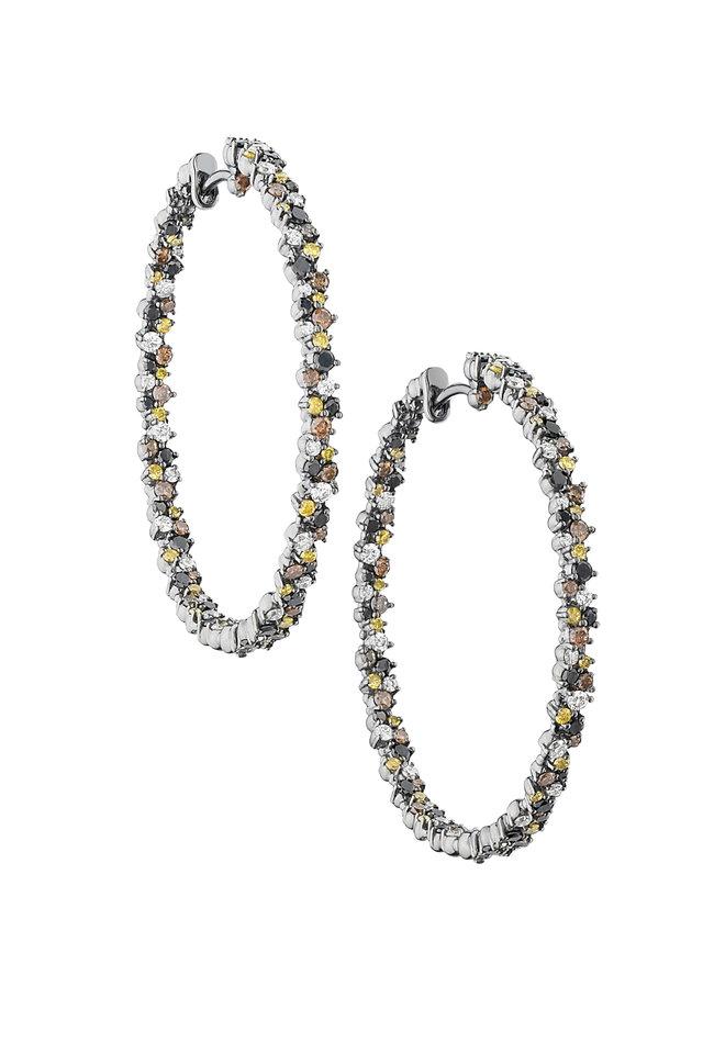 18K White Gold Multi Diamond Hoops