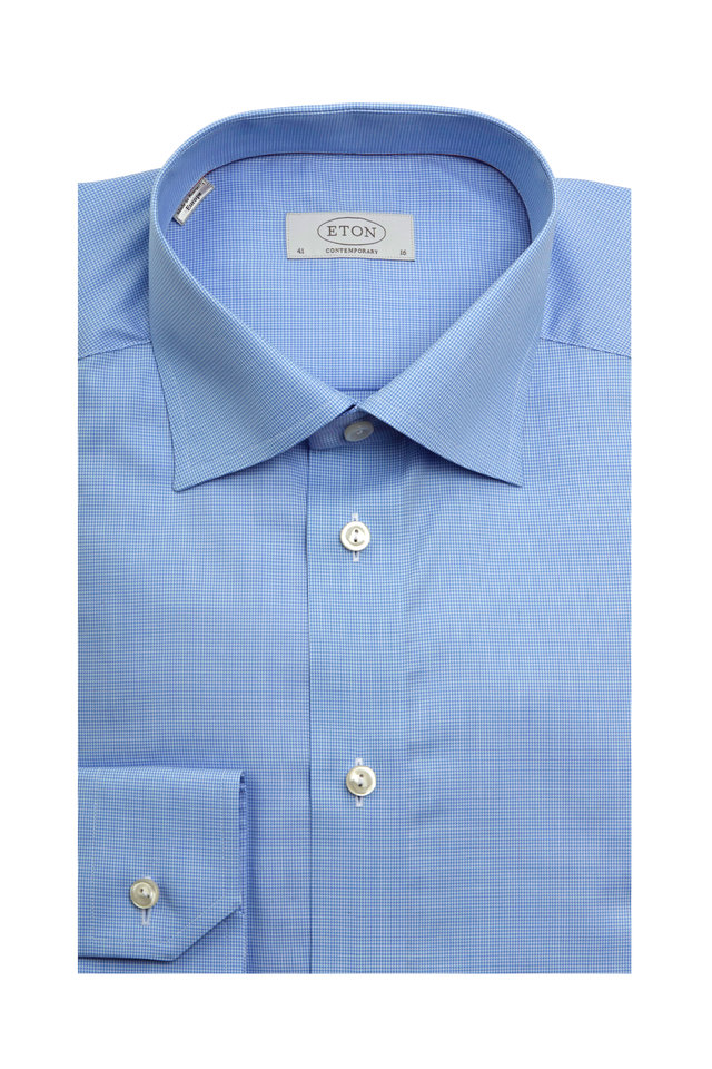 Blue Houndstooth Contemporary Dress Shirt