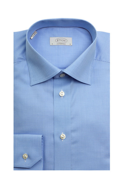 Eton - Blue Houndstooth Contemporary Dress Shirt