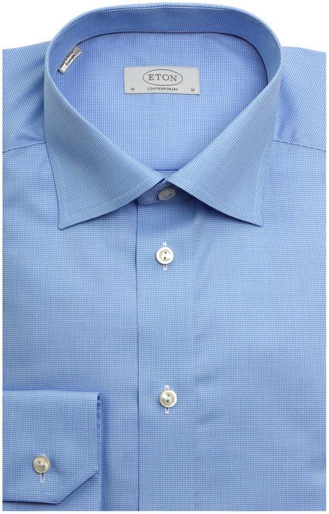 Eton Blue Houndstooth Contemporary Dress Shirt