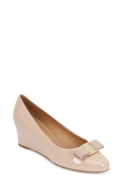 Salvatore Ferragamo - Mirabel Nude Patent Leather Bow Wedge, 55mm